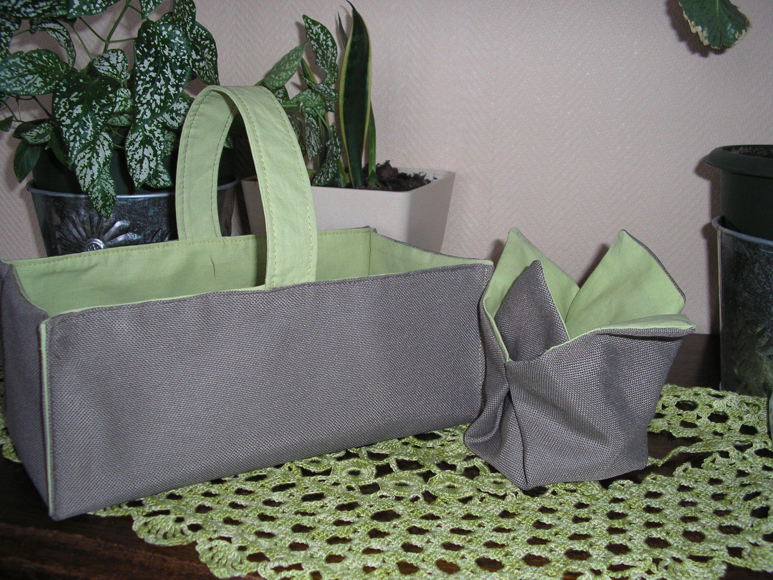 panier en tissu vert gris. Black Bedroom Furniture Sets. Home Design Ideas