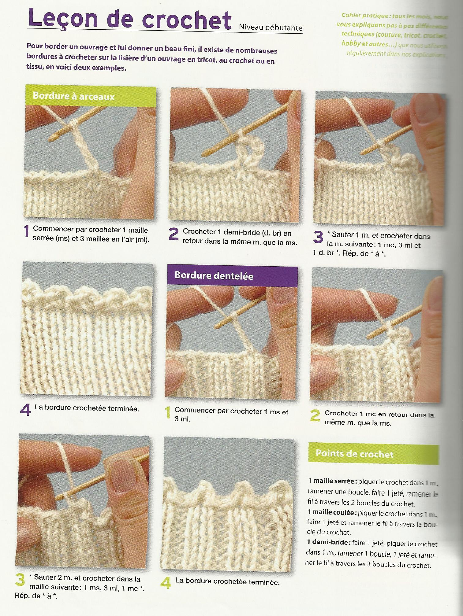 Les points de crochet - Bordure de finition au crochet ...
